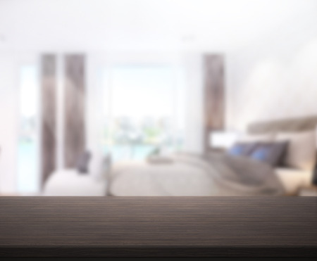 design interior: Table Top And Blur Background In the Bedroom