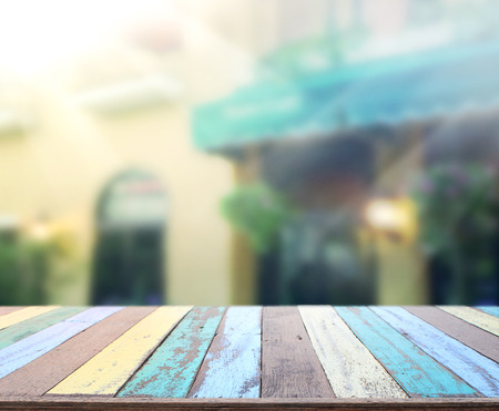 restaurant interior: Table Top And Blur Building Of Background Stock Photo
