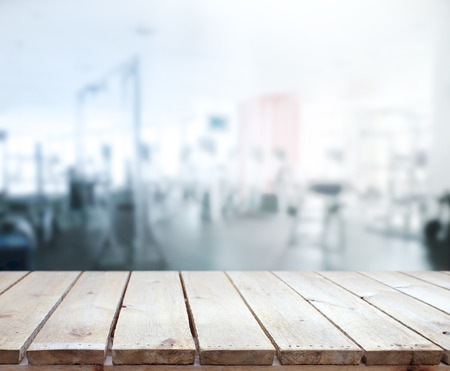 Table Top And Blur Fitness Gym of Background