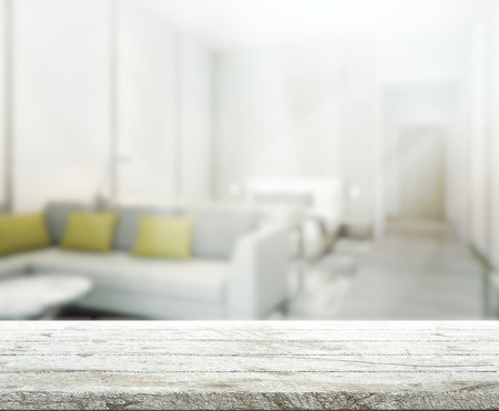 living space: Table Top And Blur Interior of Background Stock Photo