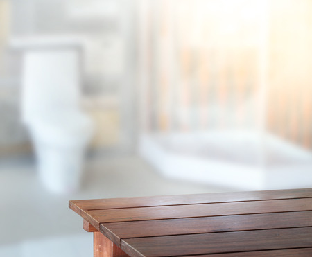 bathroom interior: Table Top And Blur Interior of the Background