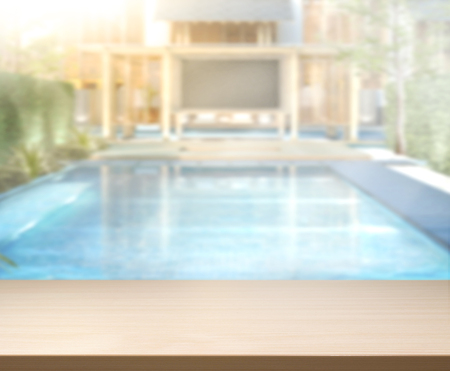 free backgrounds: Wood Table Top of The Background and Pool Stock Photo