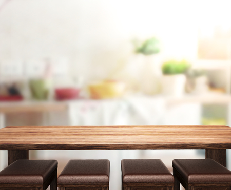 table top: Table Top And Blur Interior of Background Stock Photo