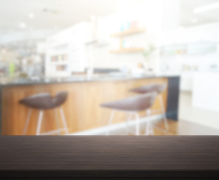 table top: Table Top And Blur Interior of The Background Stock Photo