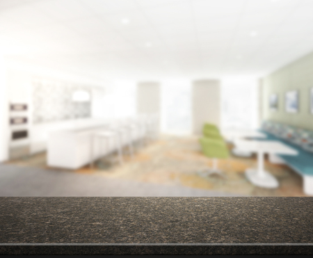 indoor background: Table Top And Blur Interior of The Background Stock Photo