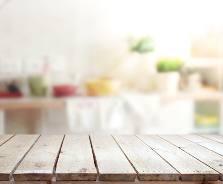 Table Top And Blur Interior of Background Stock Photo