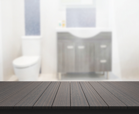 bathroom interior: Table Top And Blur Bathroom Of The Background