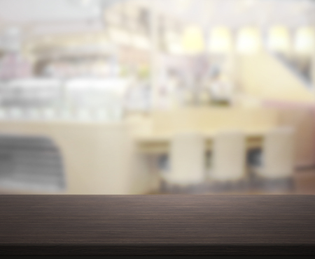 counter top: Table Top And Blur Restaurant Of The Background Stock Photo