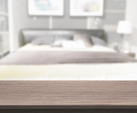 Table Top And Blur Background In The Bedroom