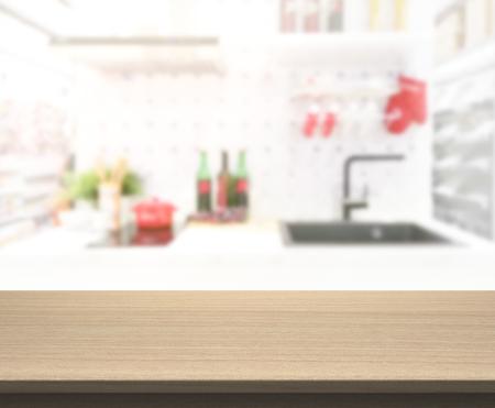 Dessus de table et salle de cuisine flou de l'arrière-plan Banque d'images