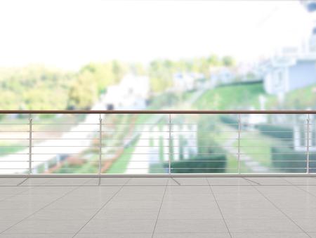 Balkon I Taras Rozmytego Tła Zewnętrznego Zdjęcie Seryjne