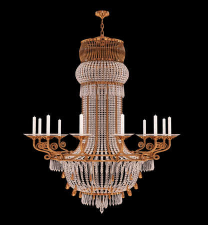 3d Render Retro chandelier  isolated on black background