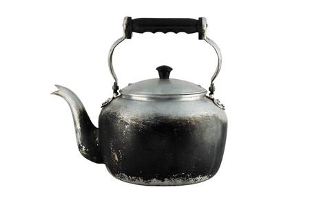 kettles: Antigua tetera aislada sobre fondo blanco  Foto de archivo