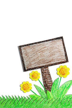 Flower with sign drawn by crayon photo