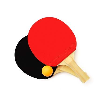 Red and black table tennis paddles and a ball isolated on white Stock Photo - 10736680