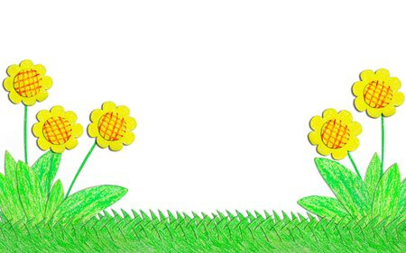 Flower with grass drawn by crayon  photo