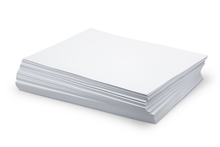 printed material: Stack white paper isolated