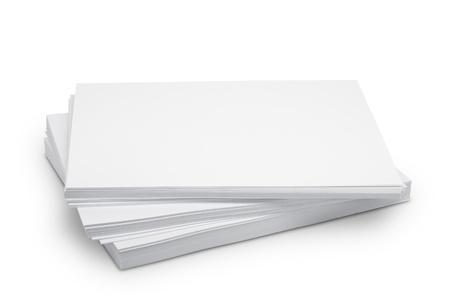 Pilha de papel branco isolado Banco de Imagens