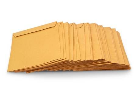 Envelope document stacks isolated on white background photo