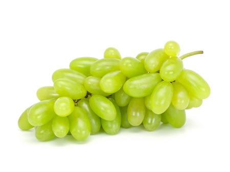 Fresh green grapes Isolated on white background photo