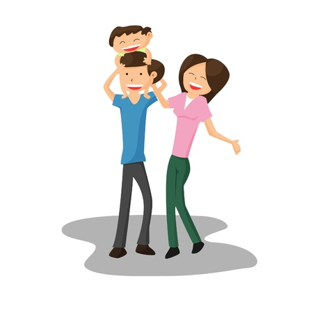 cuddle: Happy family cartoon Illustration