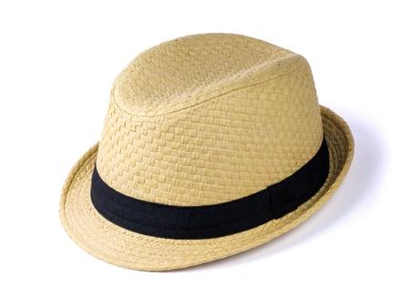 Zomer strooien hoed op een witte achtergrond