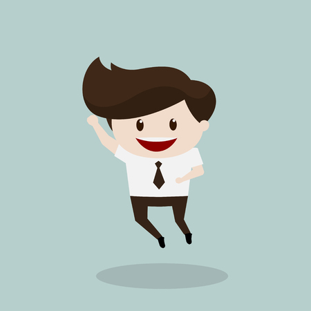 beatific: Business man - Jump Illustration