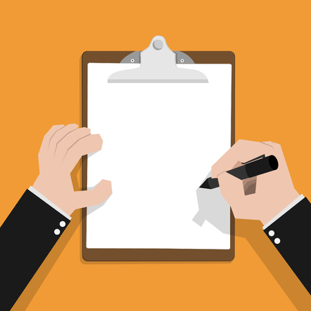 write: Businessman hand filling checklist on clipboard Illustration