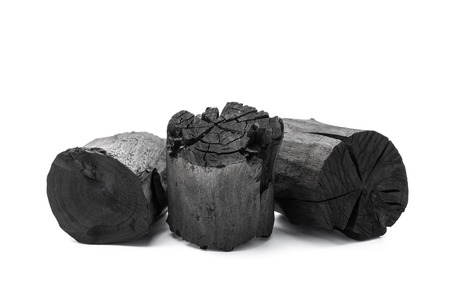 impurity: Charcoal isolated on white background Stock Photo