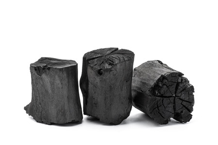 Charcoal isolated on white background 스톡 콘텐츠