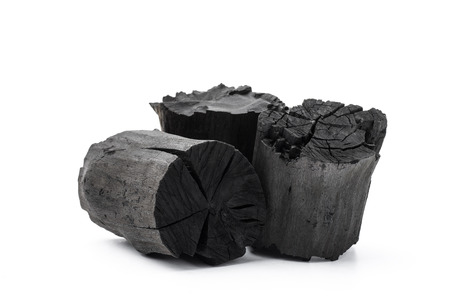 Charcoal isolated on white background Stock Photo