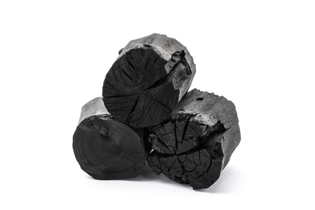activated: Charcoal isolated on white background Stock Photo