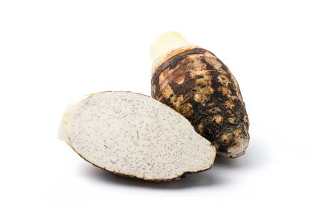 taro: Taro root isolated on white background Stock Photo