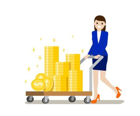 Vector flat female with money illustration, save money