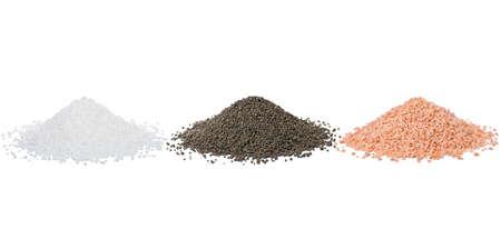 Chemical fertilizers isolated on white background. nitrogen, phosphate, potassium Stock Photo