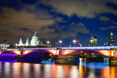london skyline: Blackfriars bridge at night, London, UK Stock Photo