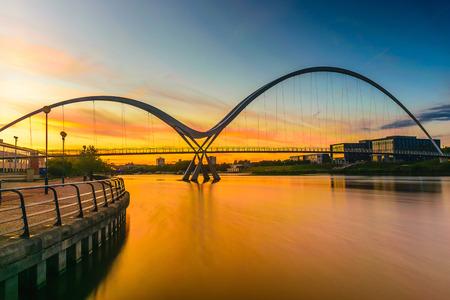 Infinity Bridge at sunset In Stockton-on-Tees, UK Stock Photo
