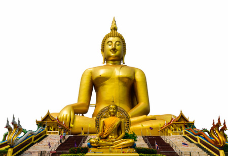 biggest: The Biggest Buddha statue isolation at temple in Thailand on white background.
