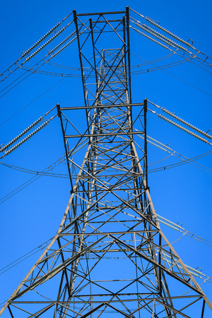 electric power station: High Electric power station on blue sky background.