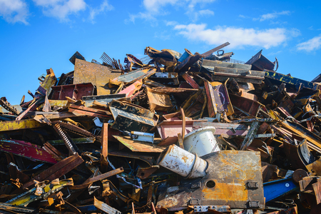 dump yard: Scrap Steel recycling prepared for smelting in steel industry