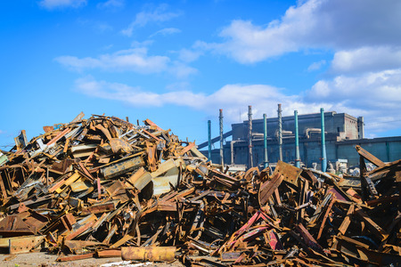 salvage yard: Scrap Steel recycling prepared for smelting in steel industry