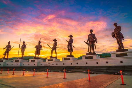 "HUA HIN,THAILAND-NOVEMBER 1,2015 : Ratchapak Park ""King's Memorial Royal Park"". The park is in honor of the Kings of Siam from the Sukhothai to Rattanakosin era and will include statues of 7 kings"