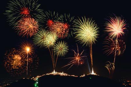 wang: Fireworks show over Phra Nakhon Khiri (Khao Wang), Petchaburi, Thailand.