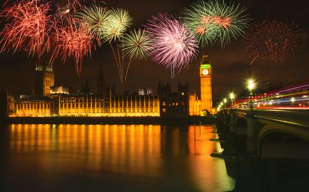 british touring car: Big Ben at night, London, UK. Stock Photo