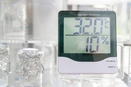 hygrometer: Digital hygro thermometer in laboratory Stock Photo