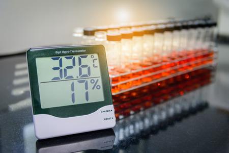 Digital hygro thermometer in laboratory Standard-Bild