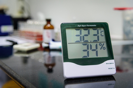 thermo: Digital hygro thermometer in laboratory Stock Photo