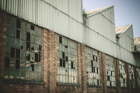 abandoned warehouse: Very old abandoned warehouse in steel industry. Retro tone
