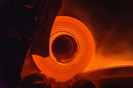 Hot-rolled steel process in steel industry Banque d'images