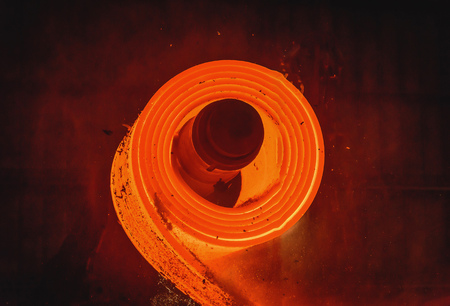 Hot-rolled steel process in steel industry Stock Photo